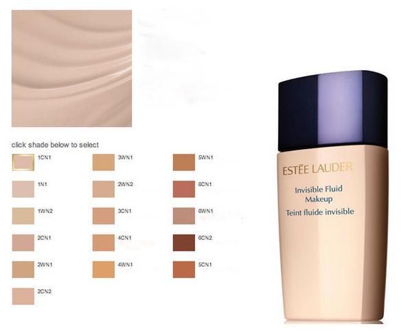 Тональный флюид Estee Lauder Invisible Fluid Makeup - оттенки