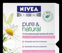 Успокаивающий дневной крем для сухой и чувствительной кожи Nivea Pure & Natural Soothing Day Cream