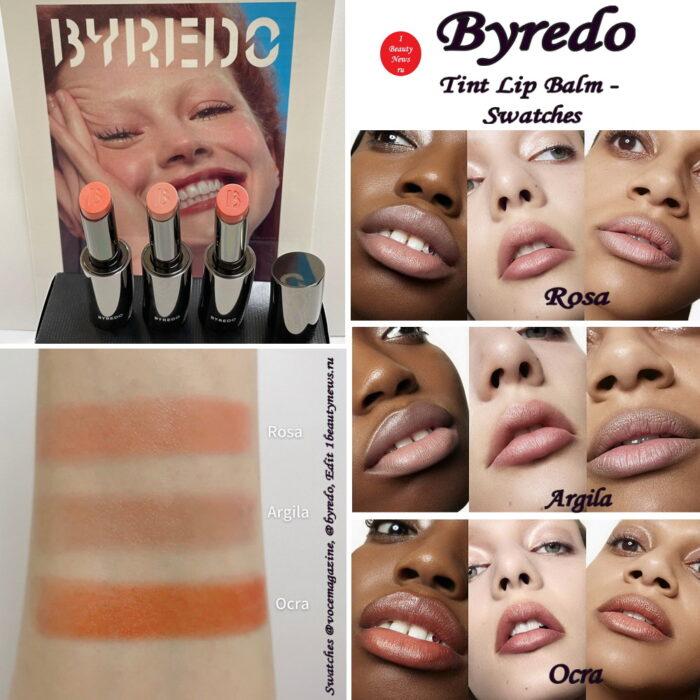 Свотчи новых оттеночных бальзамов для губ Byredo Tint Lip Balm Summer 2021 - Swatches
