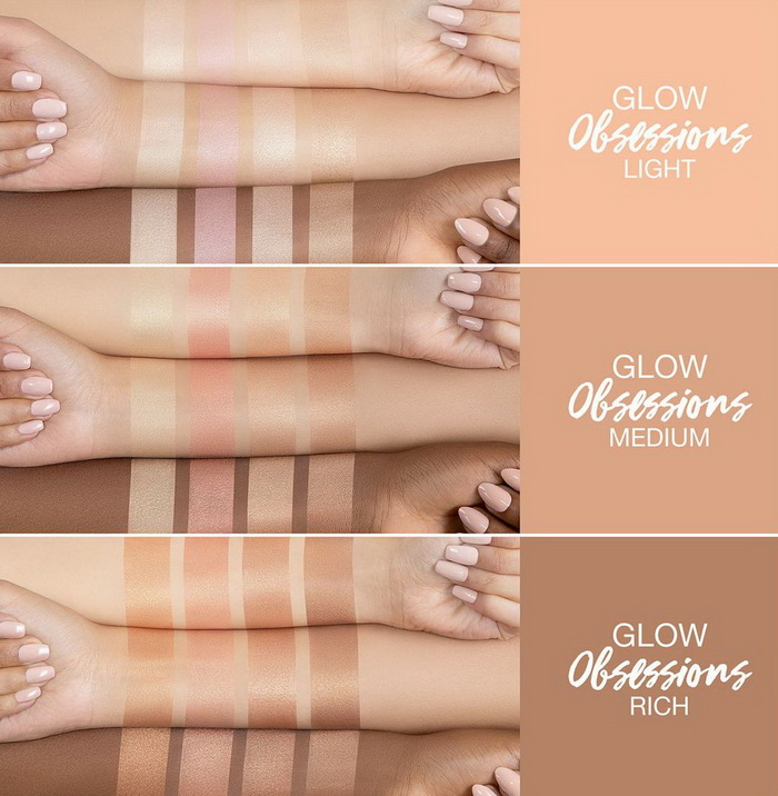 Huda Beauty Glow Obsessions Highlighter Palette Summer 2021 - Swatches