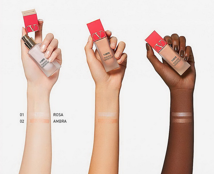 Valentino Beauty V-Lighter Face Base and Top Coat Primer - Swatches