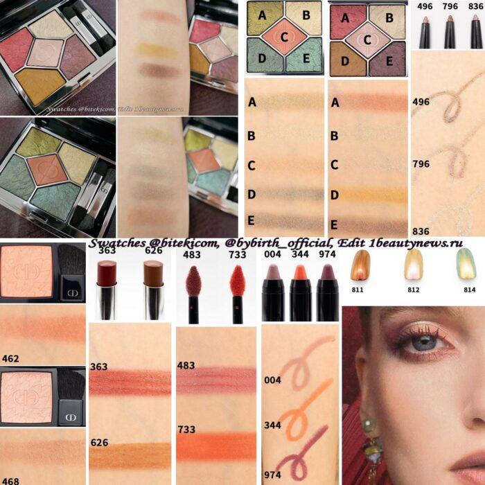 Свотчи всей осенней коллекции макияжа Dior Birds Of A Feather Makeup Collection Fall 2021 - Swatches