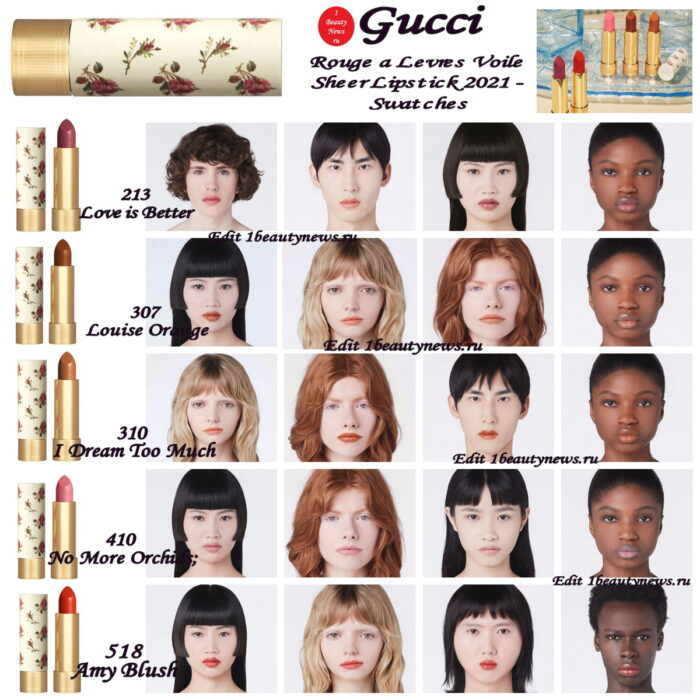 Gucci Rouge a Levres Voile Sheer Lipstick 2021 - Swatches