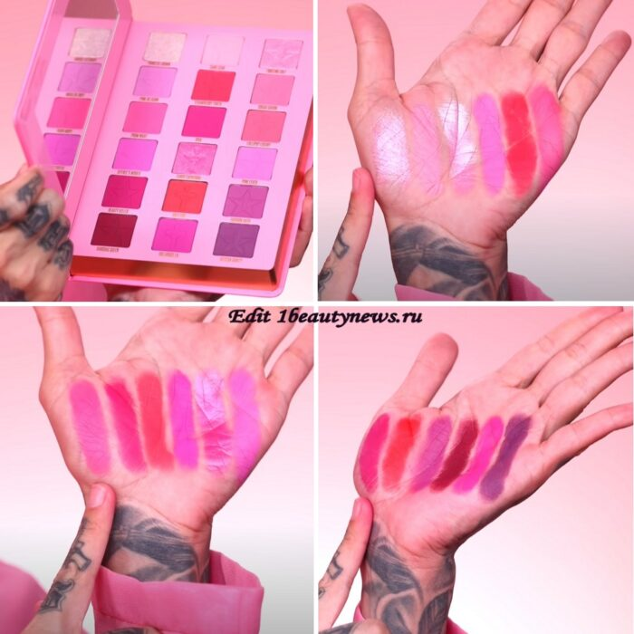 Jeffree Star Pink Religion Eyeshadow Palette - Swatches